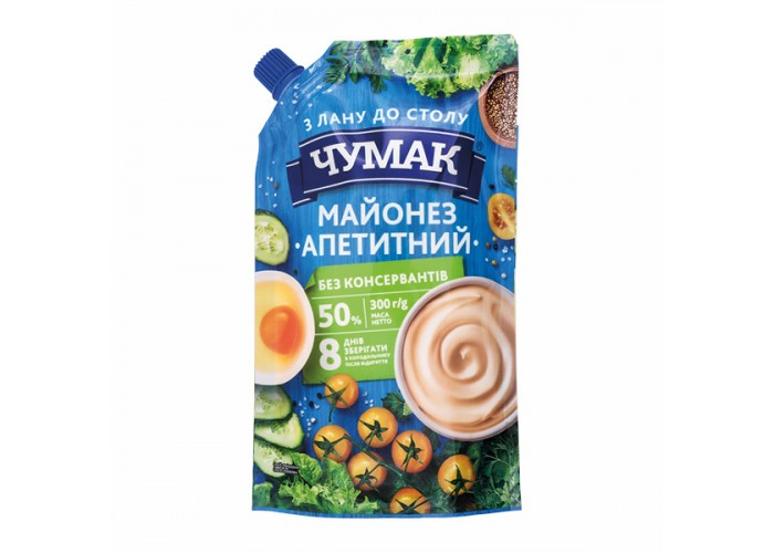 "МАЙОНЕЗ ""АПЕТИТНИЙ"" 50% 300Г ТМ ""ЧУМАК"""