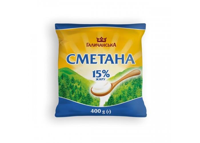 "СМЕТАНА 15%  400г ТМ""ГАЛИЧАНСЬКЕ"""